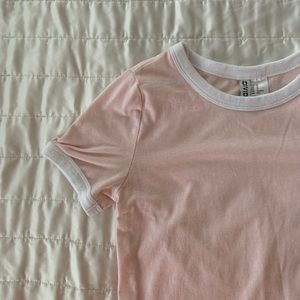 pink and white tee